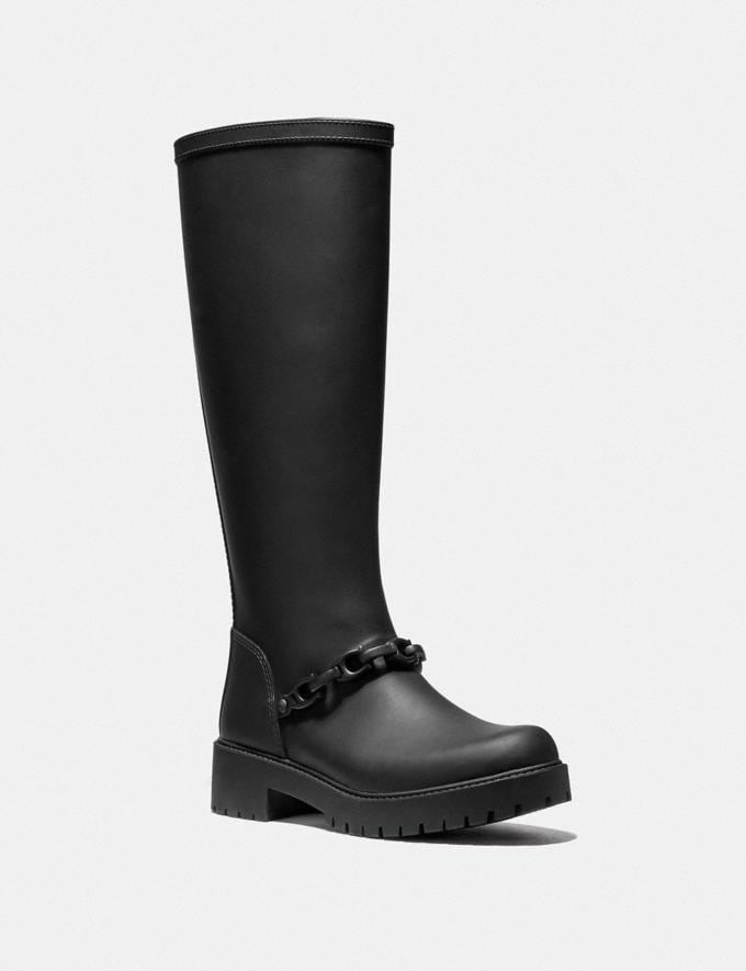 Coach Westerly Tall Rain Boot Black SALE Women's Sale