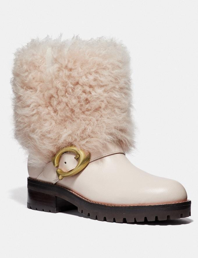 Coach Leighton Bootie Chalk/Natural Women Shoes Booties