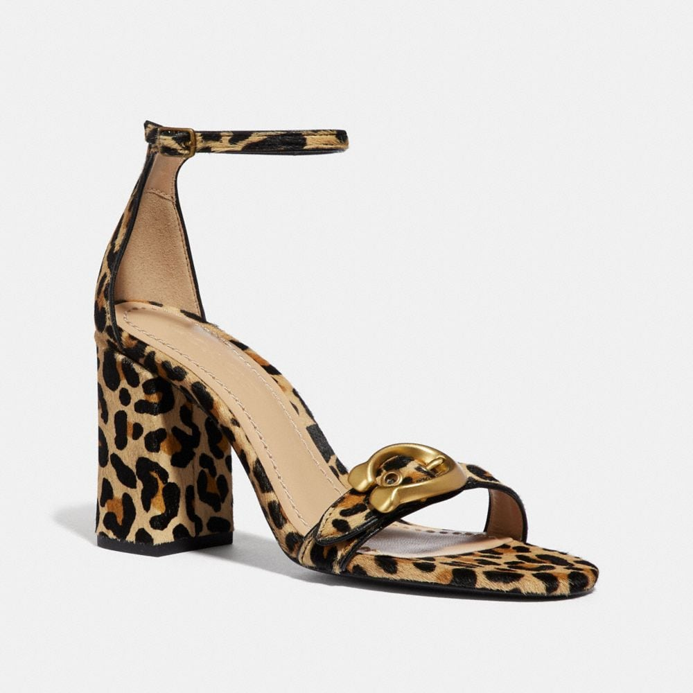 Maya Leopard Print Calf Hair Ankle-Strap Sandals in Brown
