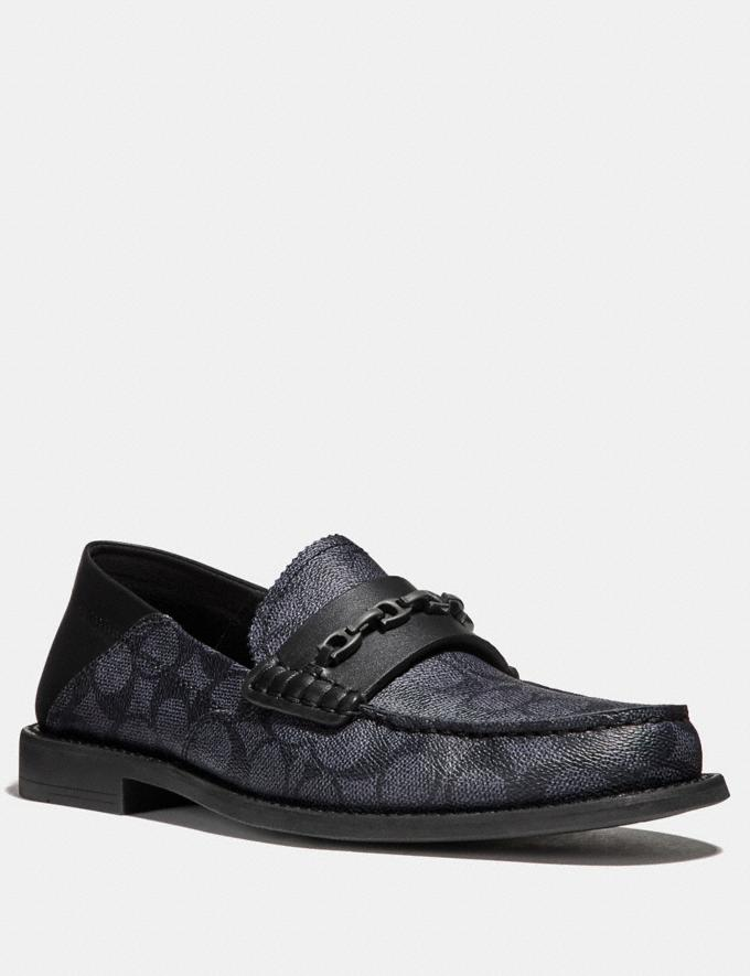 Coach Chain Loafer in Signature Canvas Charcoal/Black