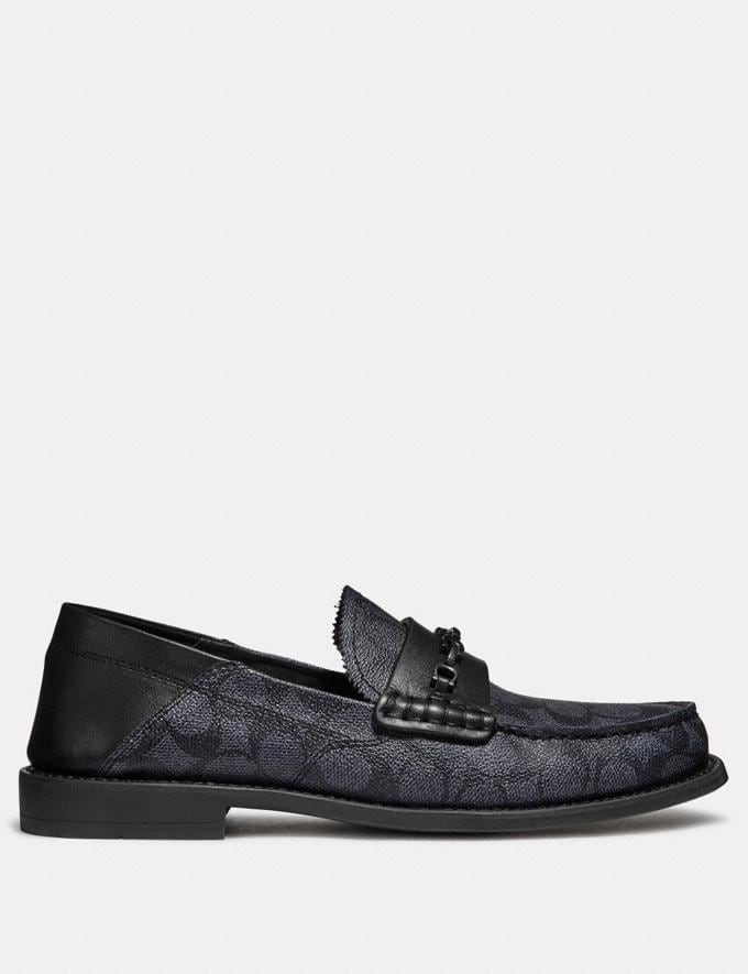 Coach Chain Loafer in Signature Canvas Charcoal/Black  Alternate View 1