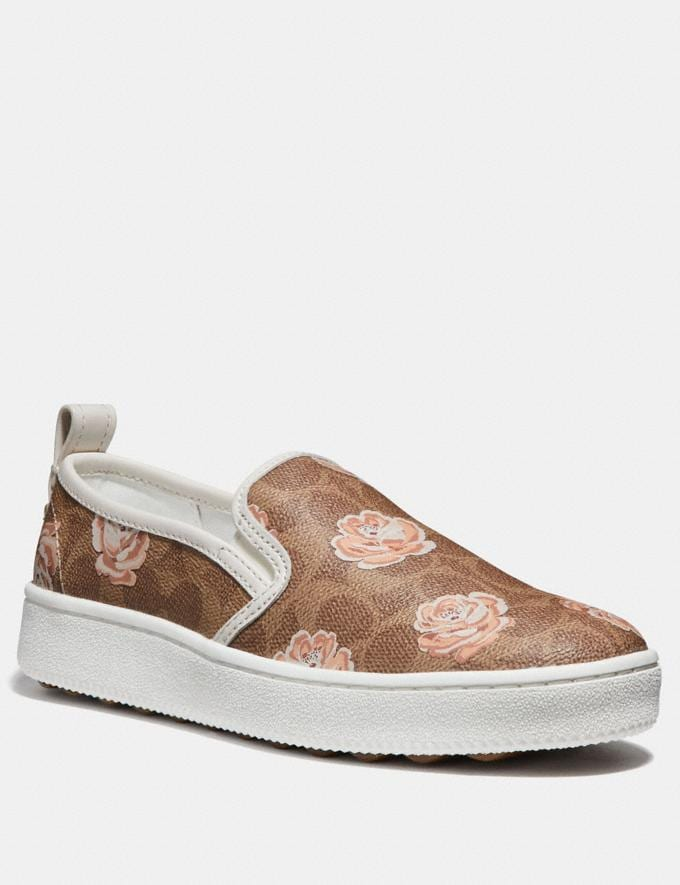 Coach C115 With Signature Floral Print Tan