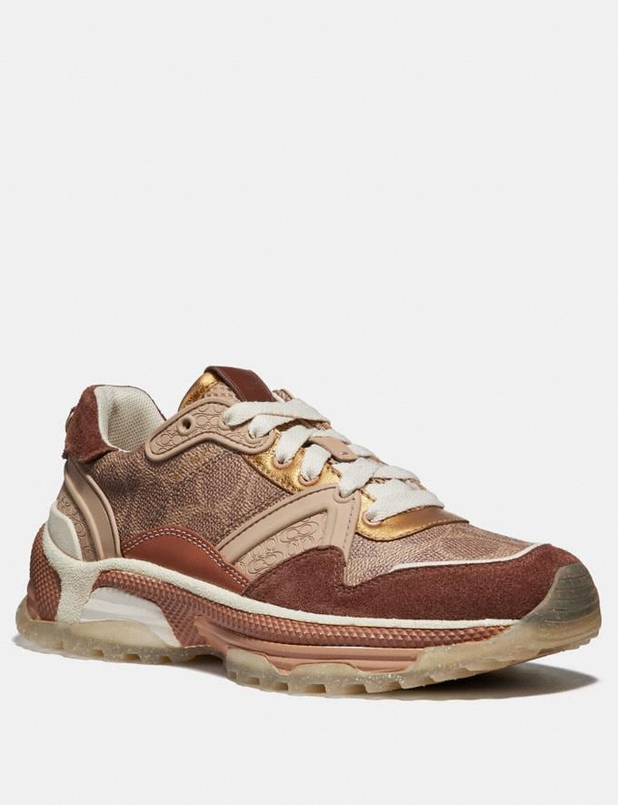Coach C143 Runner in Signature Canvas Tan/Saddle CYBER MONDAY SALE Women's Sale 40 Percent Off
