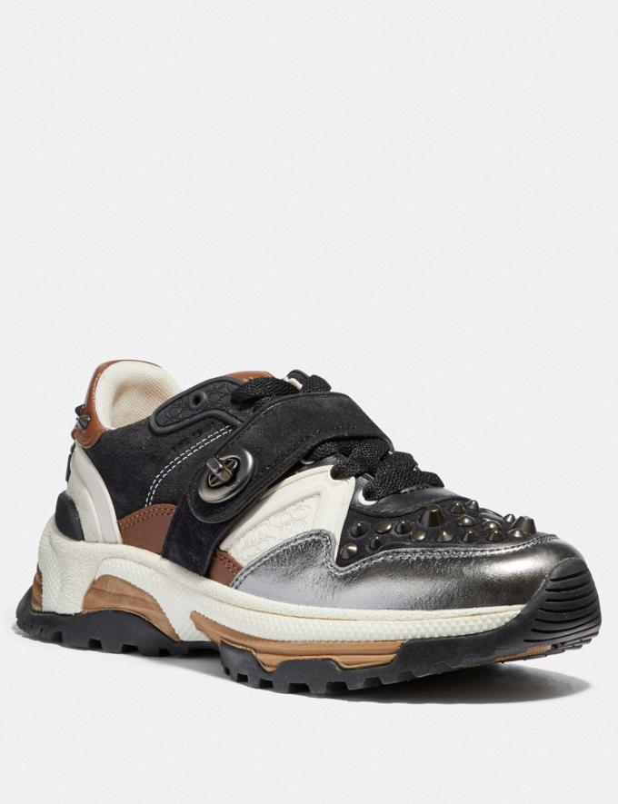 Coach C143 Runner With Studs Black/Gunmetal SALE For Her Shoes