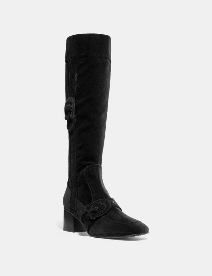 Coach Knee High Signature Buckle Boot Wine Friends & Family Sale Women's Shoes