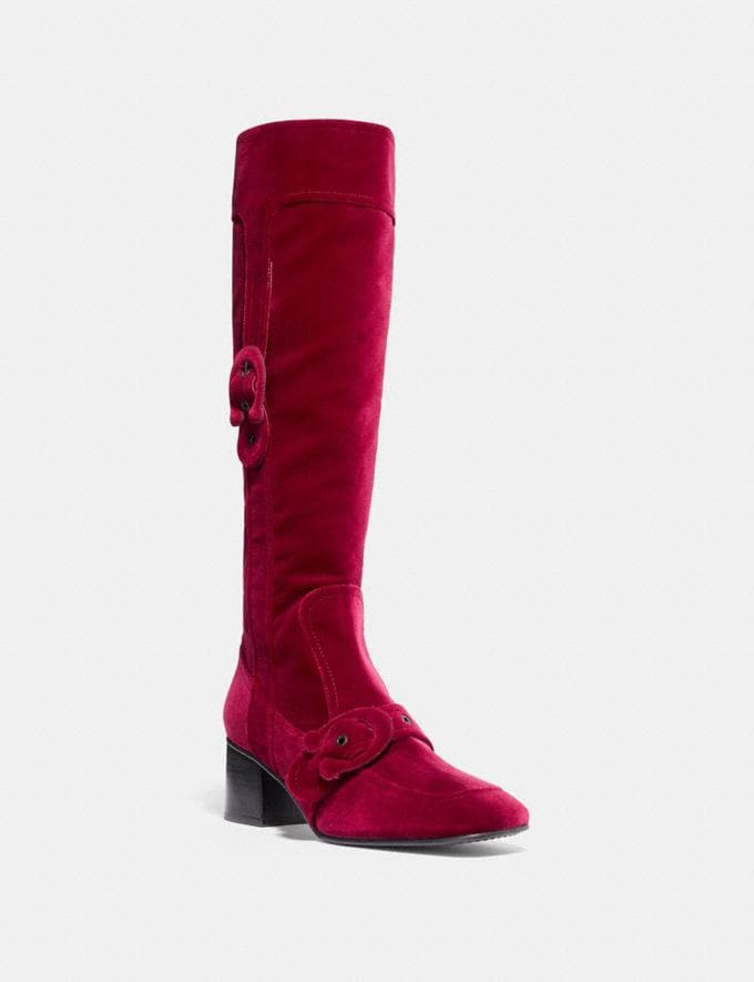 Coach Knee High Signature Buckle Boot Wine