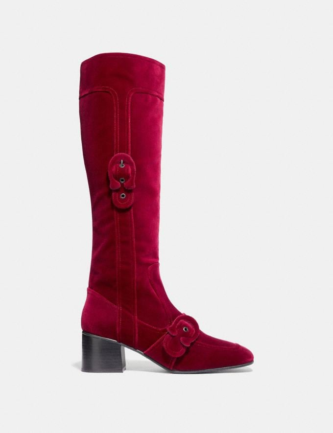 Coach Knee High Signature Buckle Boot Wine  Alternate View 1