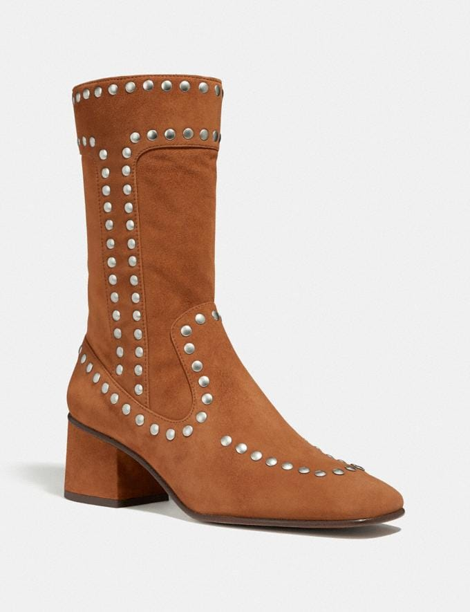 Coach Bootie With Rivets Scarlet Women Shoes Booties