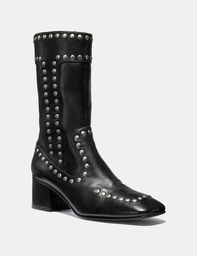 Coach Bootie With Rivets Black Women Shoes Booties