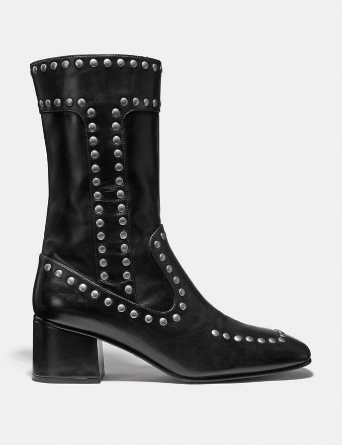 Coach Bootie With Rivets Black Women Shoes Booties Alternate View 1