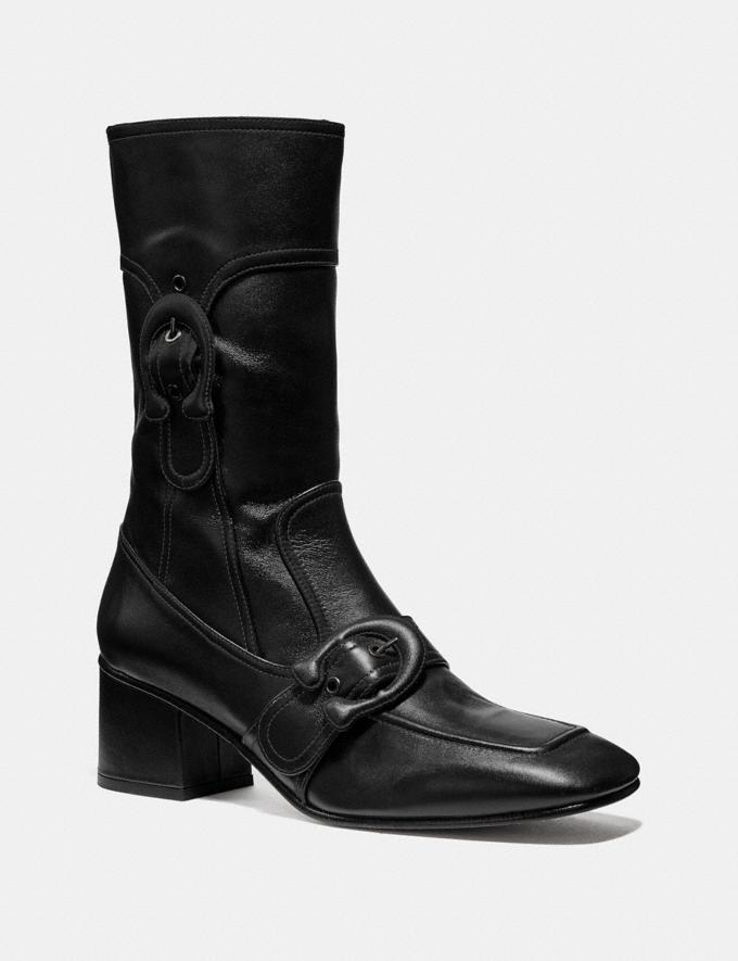 Coach Signature Buckle Bootie Mahogany Women Shoes Booties