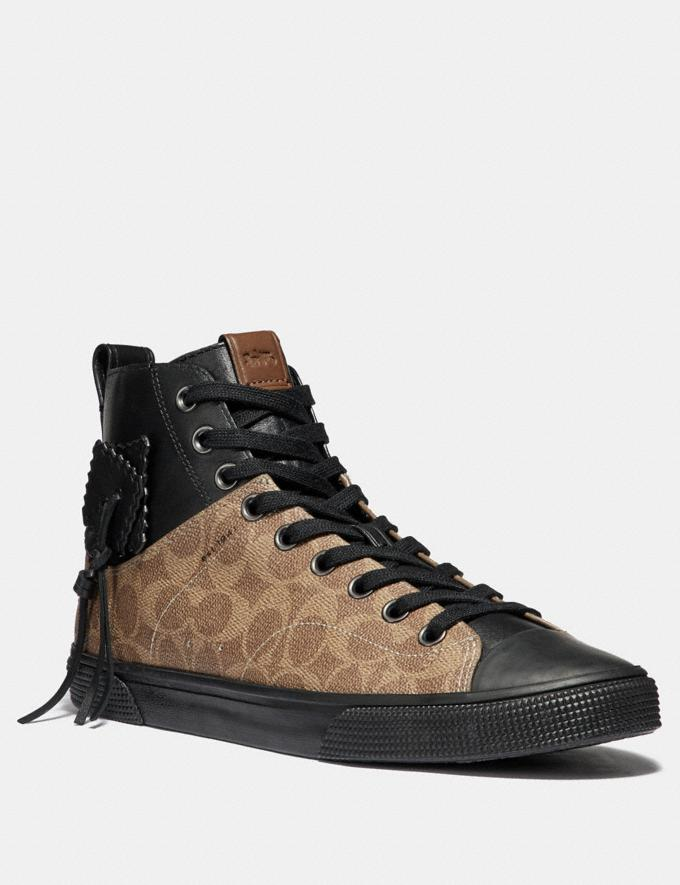 Coach C220 Signature High Top Sneaker Khaki/Black