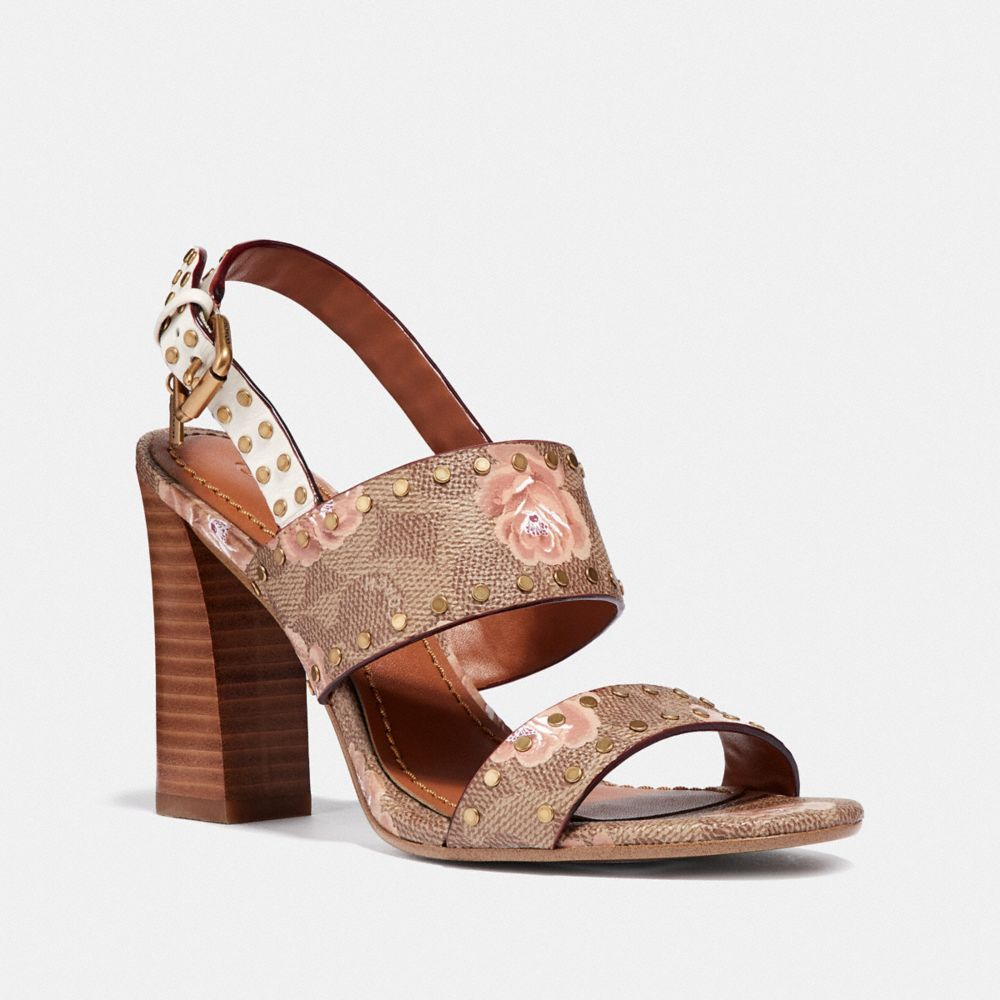 Coach Rylie Sandal in Signature Rose Print