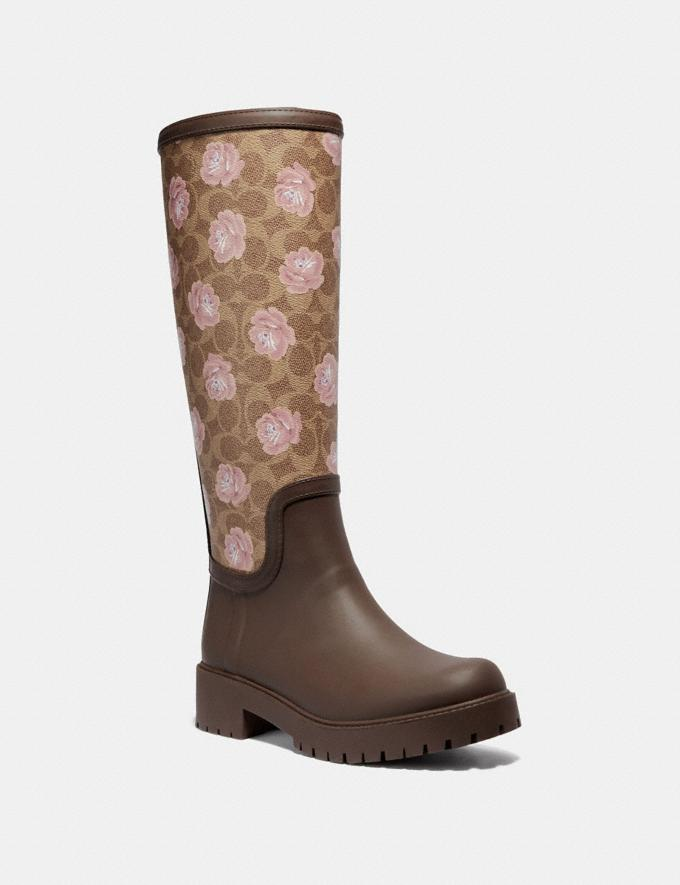 Coach Rainboot With Signature Floral Print Tan/Dark Brown SALE Women's Sale