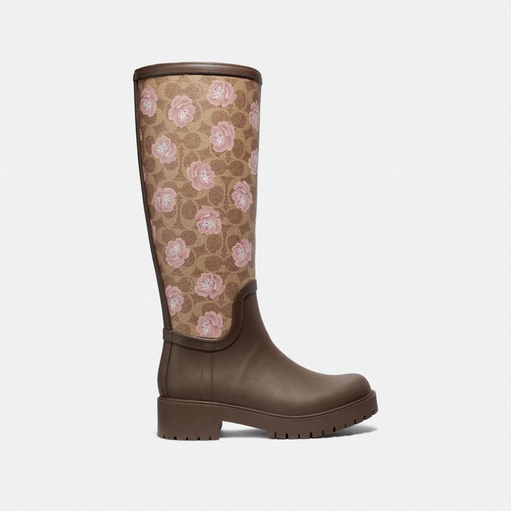 Coach Rainboot With Signature Floral Print Alternate View 1