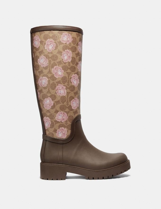 Coach Rainboot With Signature Floral Print Tan/Dark Brown SALE Women's Sale Shoes Alternate View 1
