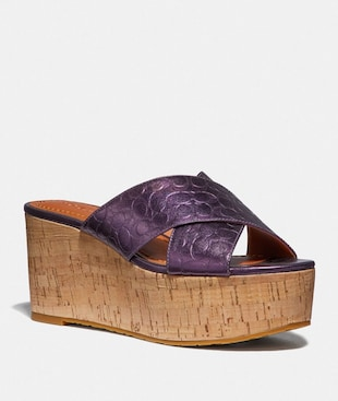 CROSS BAND SLIDE WEDGE SANDAL