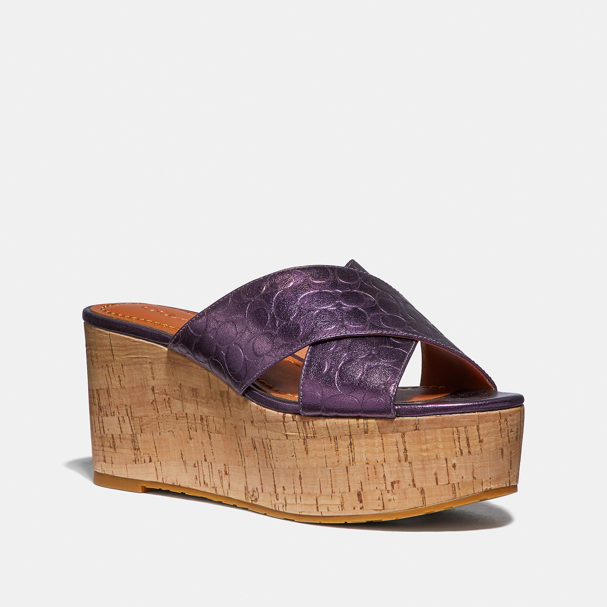 f42aec1040c Coach Cross Band Slide Wedge Sandal In Plum