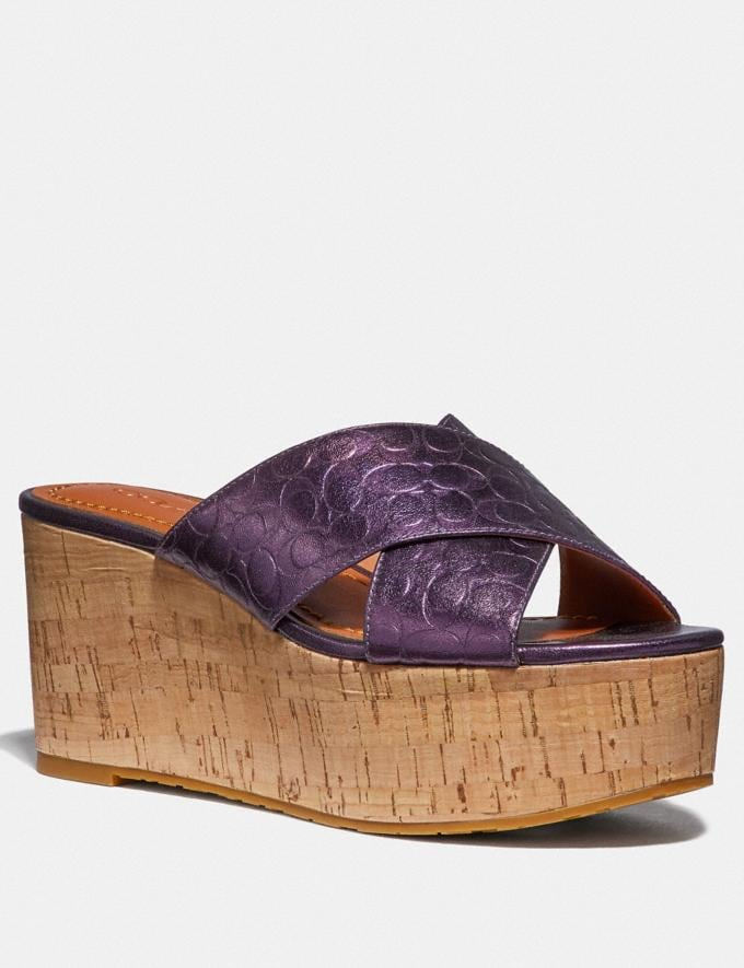 Coach Cross Band Slide Wedge Sandal Plum SALE Women's Sale Shoes