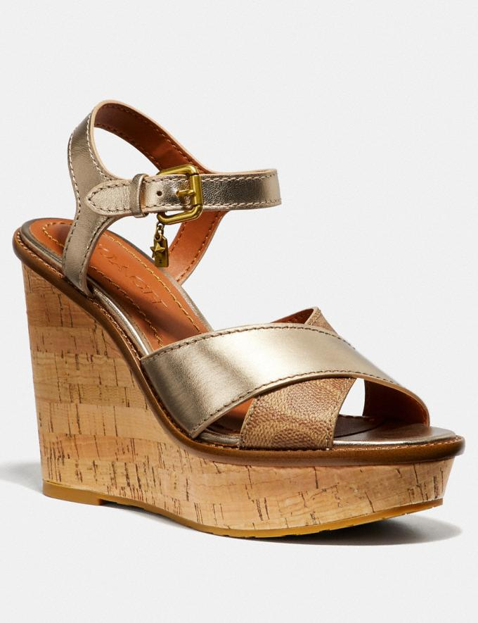 Coach Cross Band High Wedge Sandal Tan/Champagne SALE Women's Sale Shoes