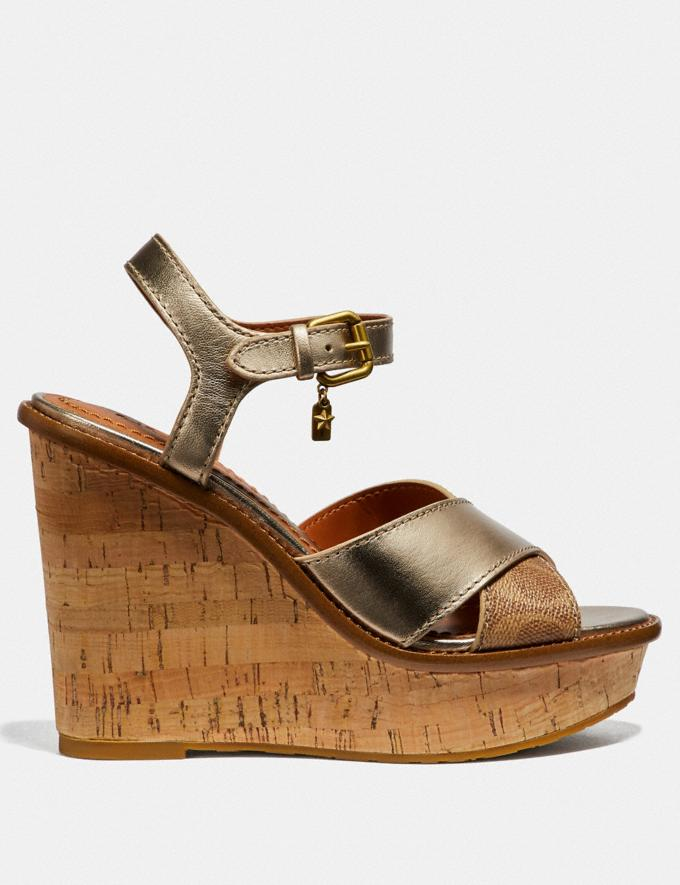 Coach Cross Band High Wedge Sandal Tan/Champagne SALE Women's Sale Shoes Alternate View 1