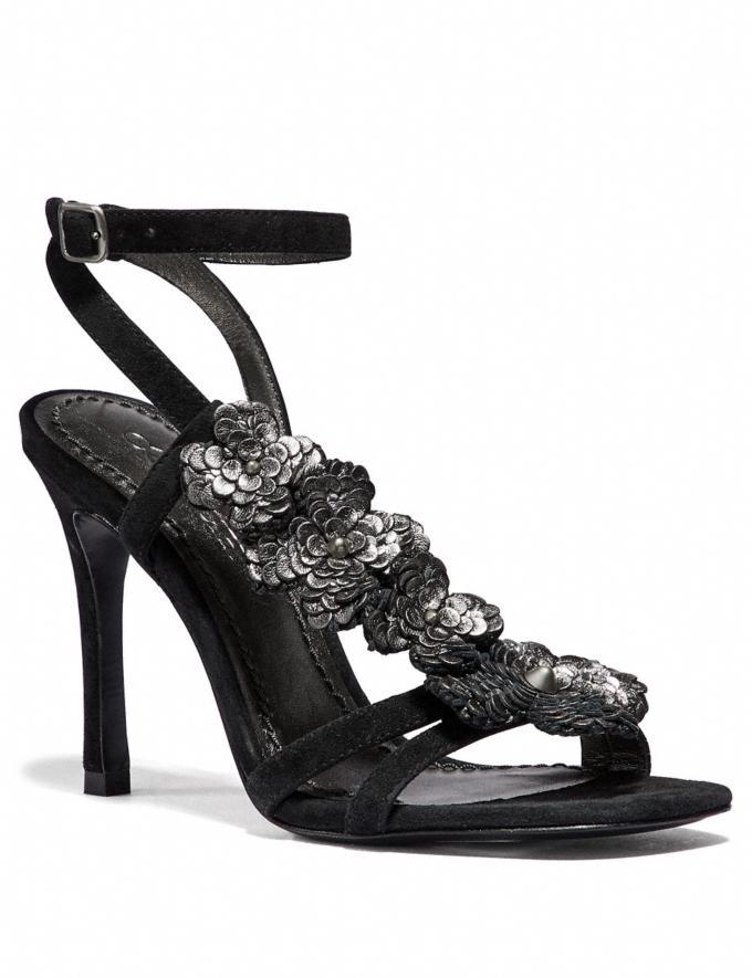 Coach Bianca Sandal With Leather Paillettes Black CYBER MONDAY SALE Women's Sale 40 Percent Off