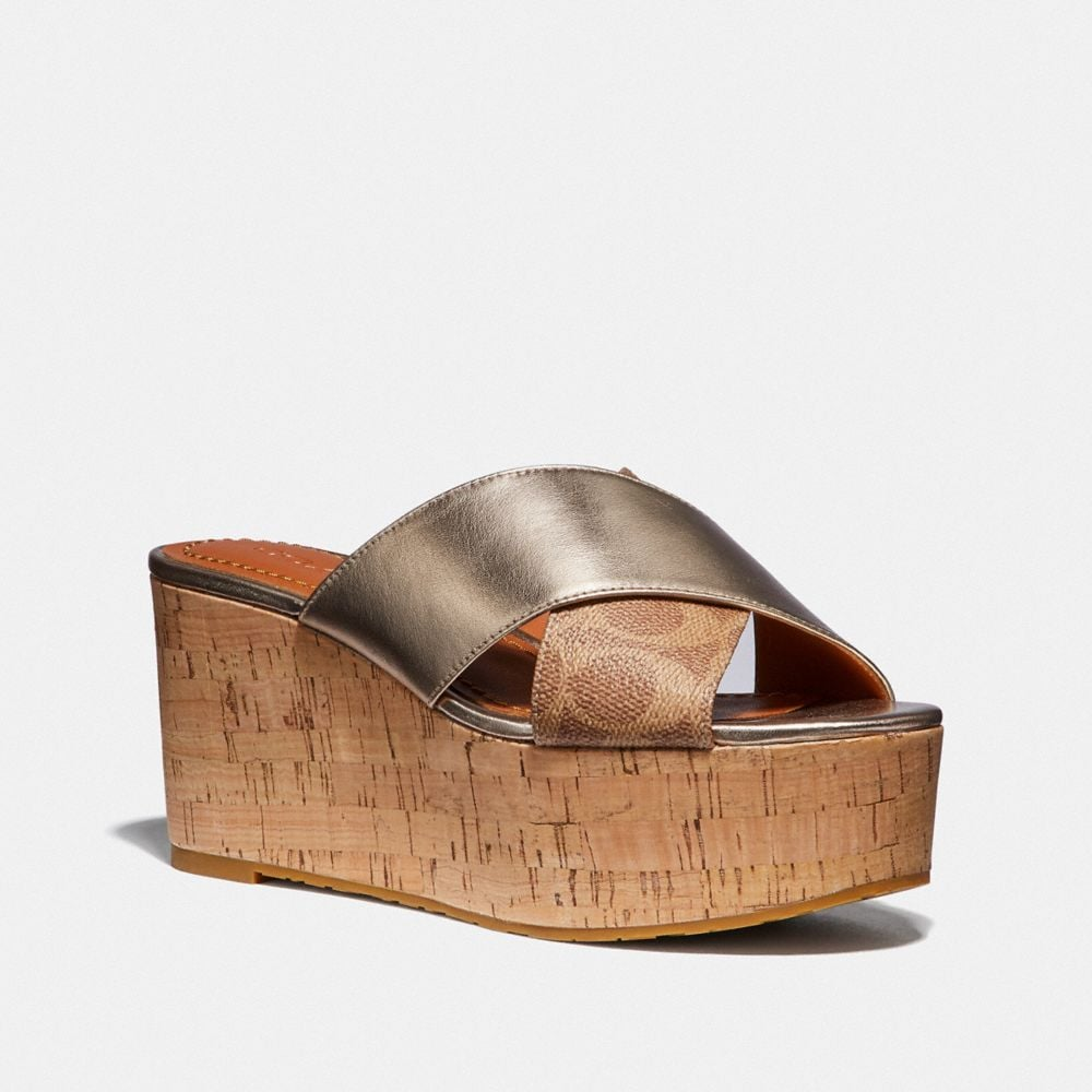 Coach CROSS BAND SLIDE WEDGE SANDAL