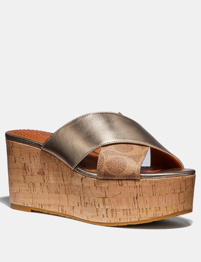 Coach Cross Band Slide Wedge Sandal Tan/Champagne SALE Women's Sale Shoes