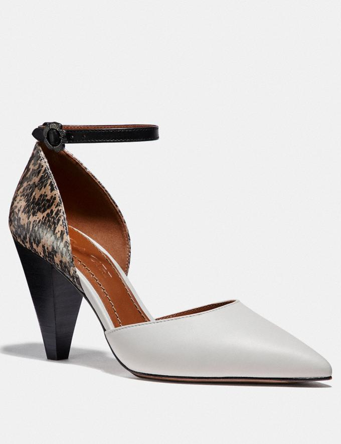 Coach Wynne Ankle Strap D'Orsay With Snakeskin Detail Chalk/Natural SALE Women's Sale Shoes