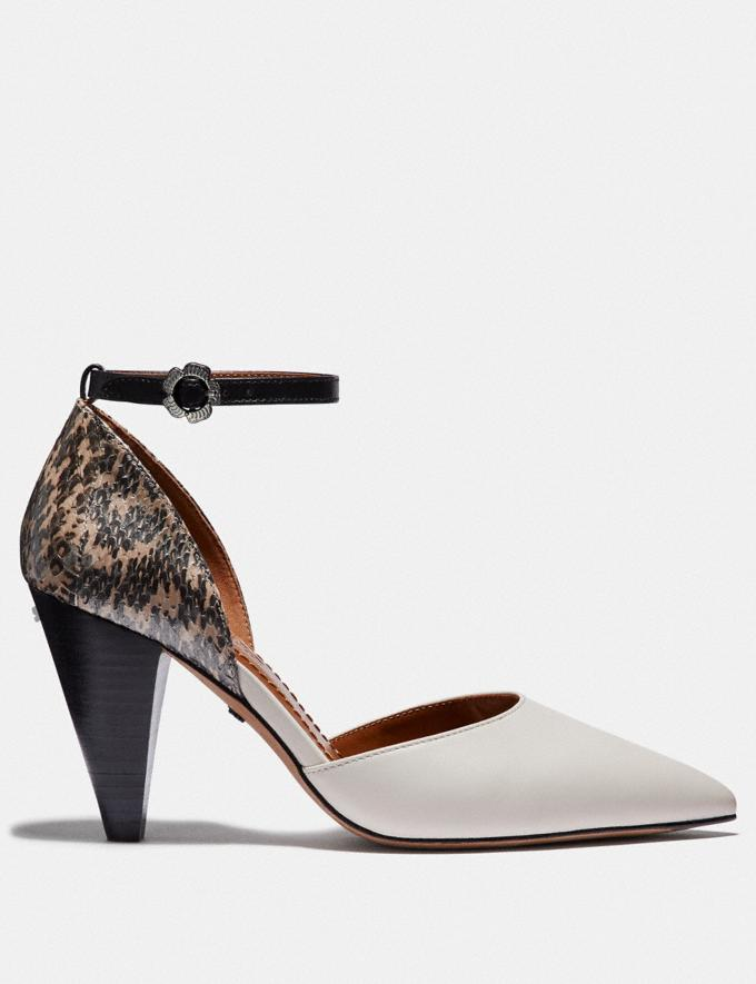 Coach Wynne Ankle Strap D'Orsay With Snakeskin Detail Chalk/Natural SALE Women's Sale Shoes Alternate View 1