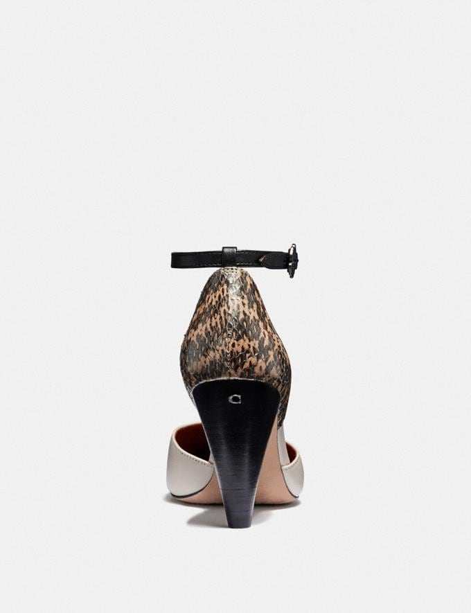 Coach Wynne Ankle Strap D'Orsay With Snakeskin Detail Chalk/Natural  Alternate View 3