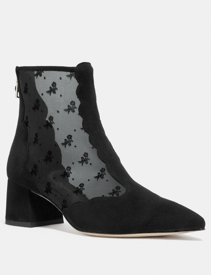 Coach Skyler Ankle Bootie With Tea Rose Mesh Black Women Shoes Boots
