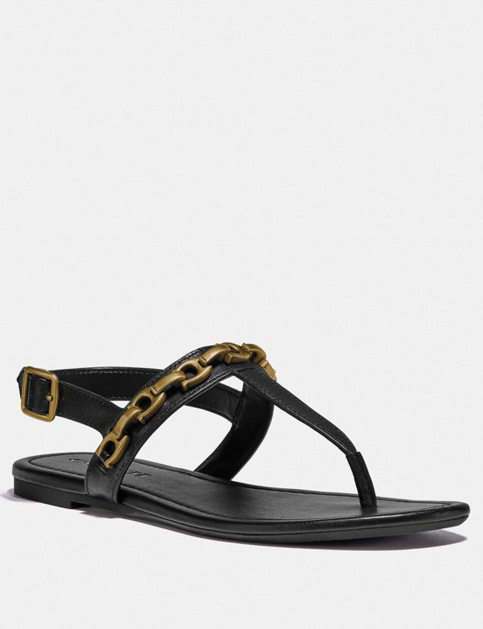 Coach Jenna Sandal Black Women Shoes Flats