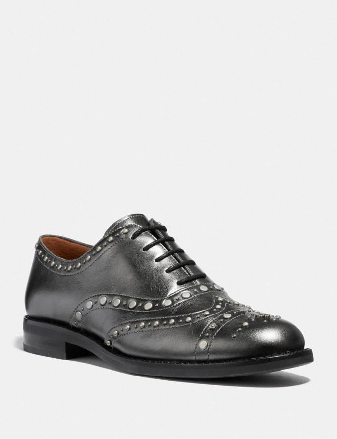 Coach Tegan Oxford With Studs Gunmetal SALE Women's Sale Shoes