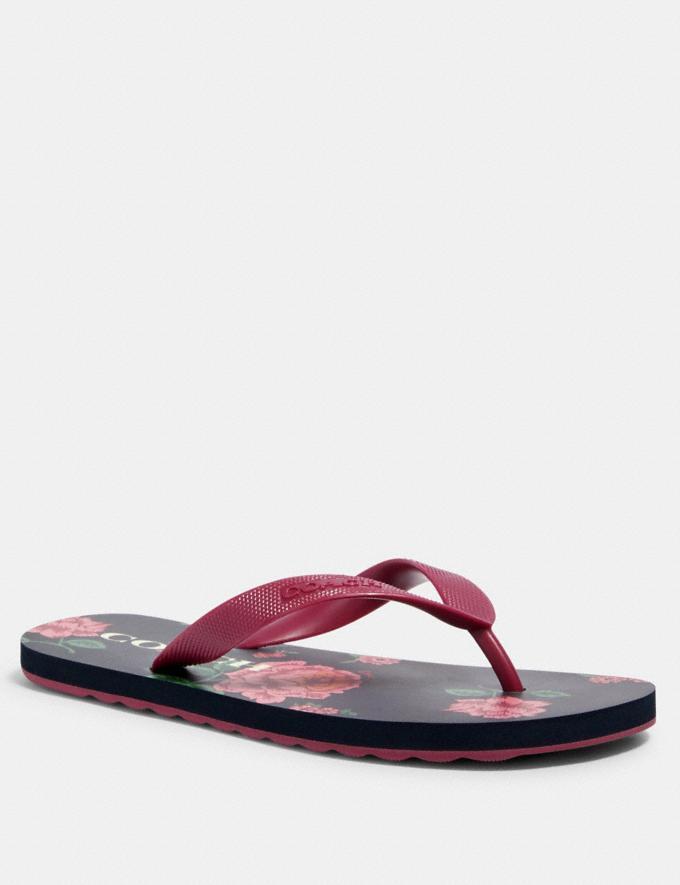 Coach Zak Flip Flop With Floral Print Navy/Pink