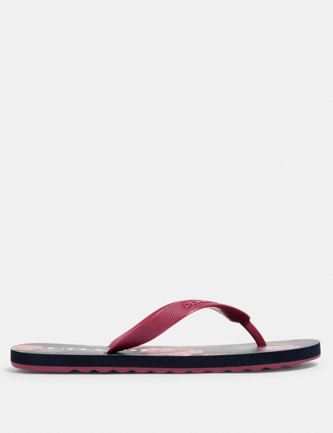 Coach Zak Flip Flop With Floral Print Navy/Pink  Alternate View 1
