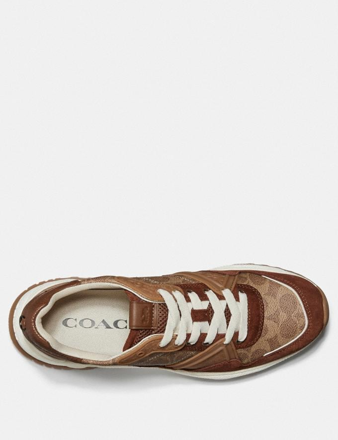 Coach C143 Runner Khaki Signature Men Shoes Trainers Alternate View 2