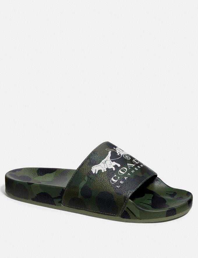 Coach Slide With Wild Beast Print Wild Beast Green Men Shoes Smart Casual