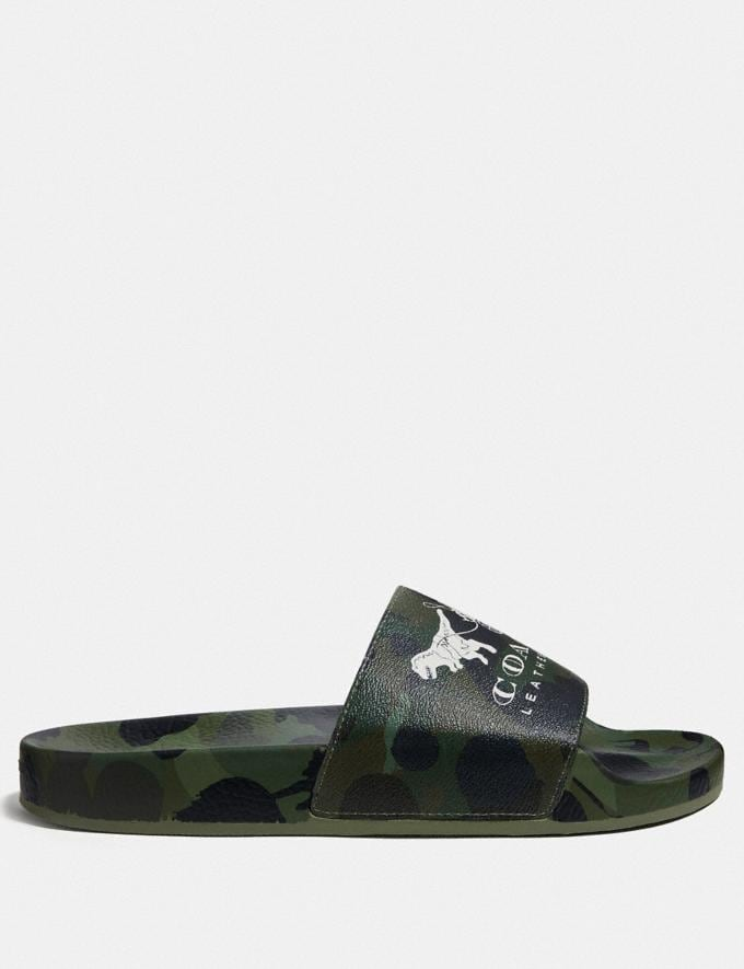 Coach Slide With Wild Beast Print Wild Beast Green Men Shoes Smart Casual Alternate View 1