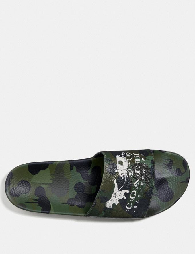 Coach Slide With Wild Beast Print Wild Beast Green Men Shoes Smart Casual Alternate View 2