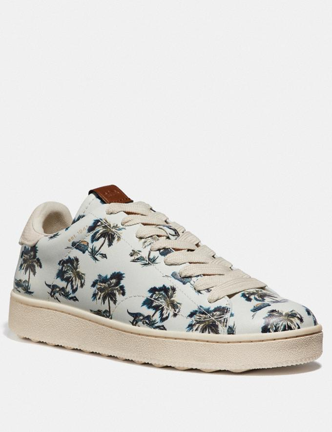 Coach C101 With Dino Palm Print Dino Palm Light Blue Men Shoes Sneakers