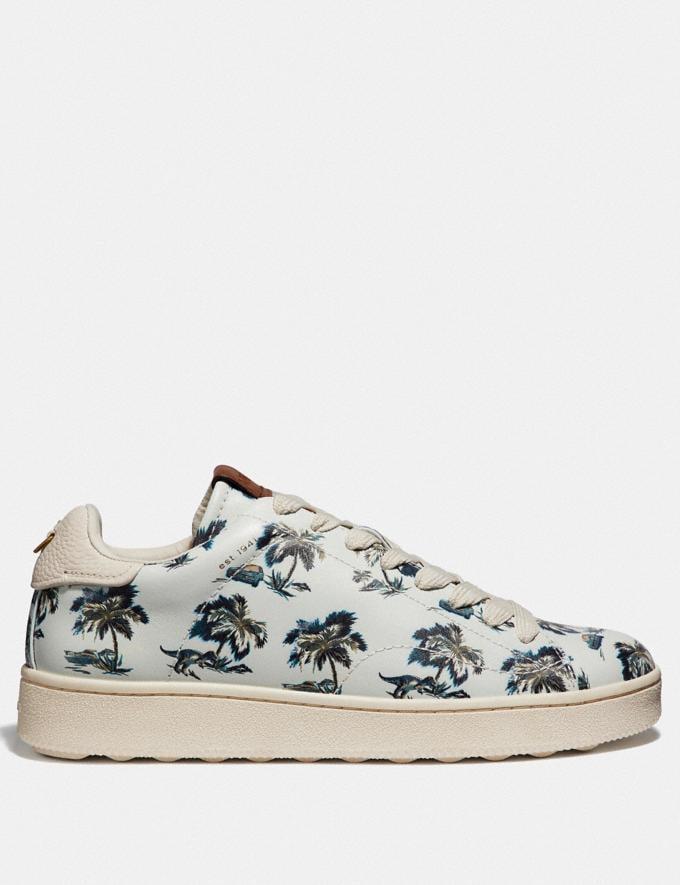 Coach C101 With Dino Palm Print Dino Palm Light Blue Men Shoes Sneakers Alternate View 1