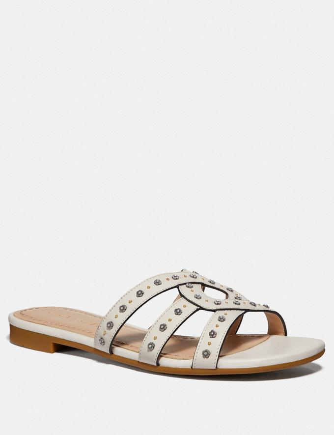 Coach Kennedy Sandal Chalk Women Shoes Flats