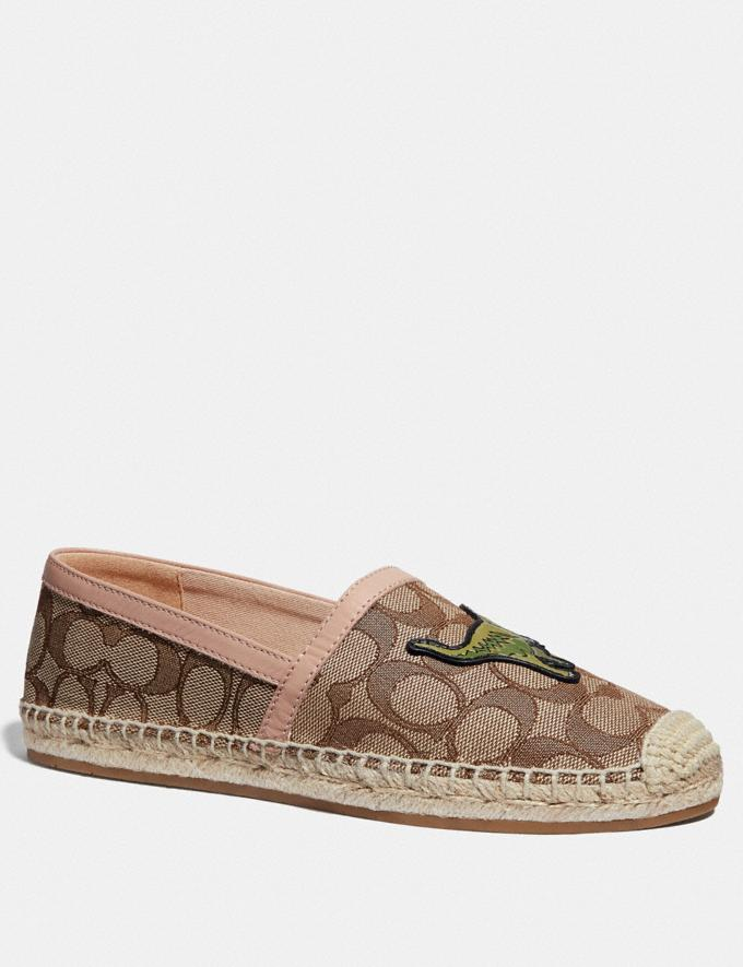 Coach Casey Espadrille With Rexy Khaki/Pale Blush Women Shoes Sandals