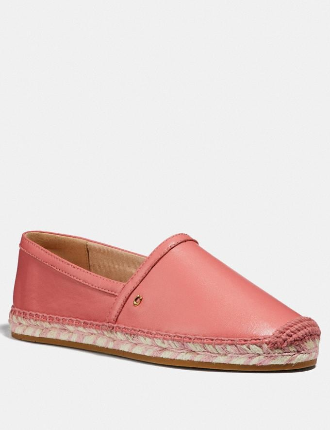 Coach Casey Espadrille Bright Coral Women Shoes Flats