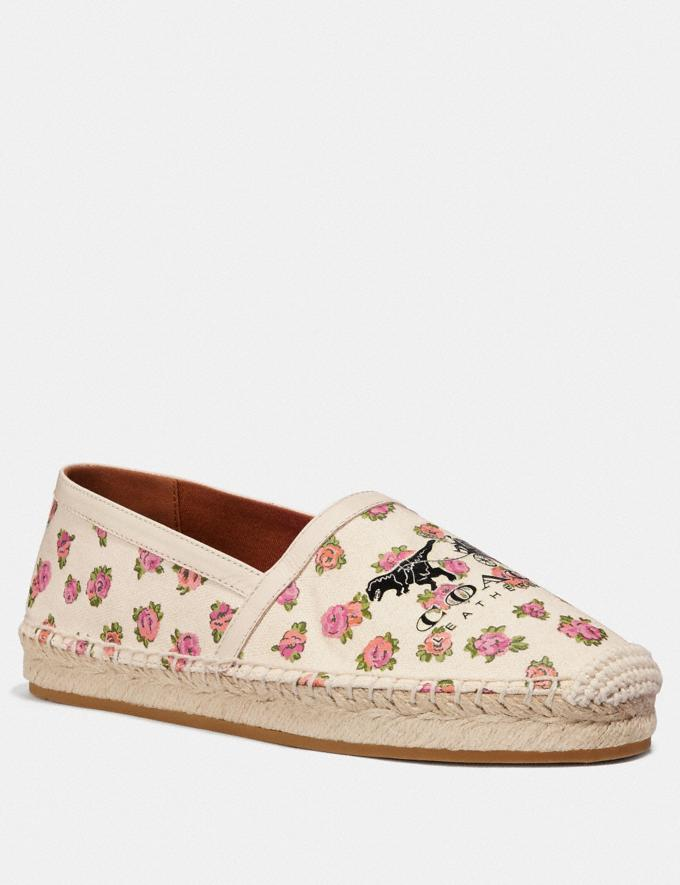 Coach Casey Espadrille With Mini Vintage Rose Print Chalk Women Shoes