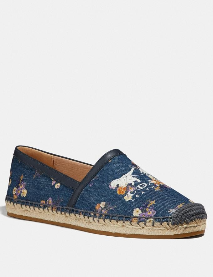 Coach Casey Espadrille With Painted Floral Bow Print Denim/Midnight SALE Women's Sale Shoes