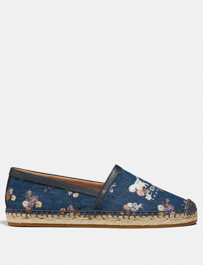 Coach Casey Espadrille With Painted Floral Bow Print Denim/Midnight SALE Women's Sale Shoes Alternate View 1