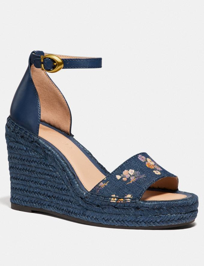 Coach Kit Wedge Espadrille With Floral Bow Print Denim/Denim