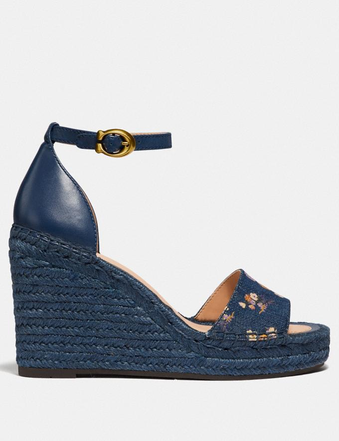 Coach Kit Wedge Espadrille With Floral Bow Print Denim/Denim  Alternate View 1